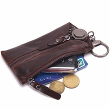THINKTHENDO 2018 New Arrival 6 Keyrings Car Key Case Key Chain Small Zipper Pouch Bag Coin Purse Key Wallet Black/Brown/coffee(China)