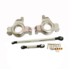 AXIAL SCX10 Jeep Honcho UpGraded Front METAL KNUCKLES + STEERING LINK Arm Silver