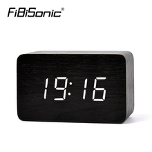 FiBiSonic Modern Design Wooden LED Digital Alarm Clock,Desktop Multi-function Temperature Wood LED Digital Clock(China)