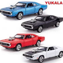 YUKALA 1:32 Scale Alloy Diecast Car Model Kids Toys 1/32 Fast & Furious 7 Charger Pull Back Toy Cars Collection Gift