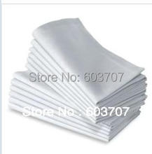 100% Polyester Fabric White Table Napkin 40cm*40cm Square 100PCS A LOT With Free Shipping For Hotel Use(China)