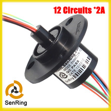 Electronics slip ring OD 22mm 12 circuit each 2A gold to gold contacts capsule slip rings(China)