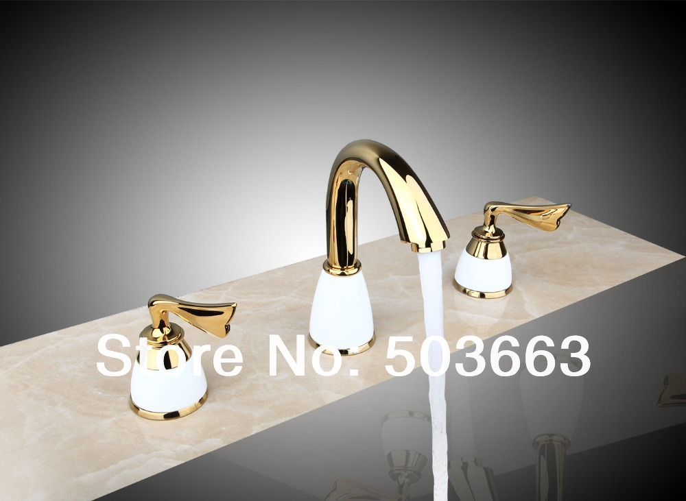 Polished Golden 3 Pieces Double Handles Spray Spout Bathroom Bathtub Basin Sink Faucet Vanity Mixer Tap Deck Mount MF-679<br><br>Aliexpress