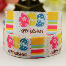 7/8'' (22mm) Easter Eggs Cartoon Character printed Grosgrain Ribbon party decoration satin ribbons X-01317 OEM 10 Yards