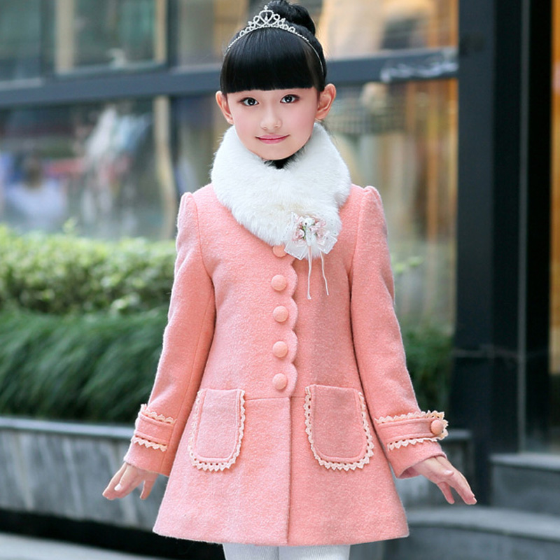 Hot sell fashion Childrens clothing 2017 winter new girl wool woolen coat 4-11 years old cotton thickening Girls Winter Coat <br>