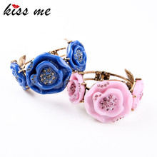 Delicate African Pop Blue Pink Acrylic Rose Cuff Bracelets New Bangles Women Factory Wholesale