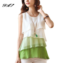 2018 Female Multi-Colors Blouse Shirts Spring Summer Flounce Tiered Tops Round Neck Sleeveless Chiffon Shirt Silk Blouse Women(China)