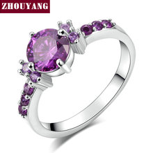Silver Color Fashion Elegant Purple Crystal Wedding & Engagement For Women As Promise Gift ZYR492