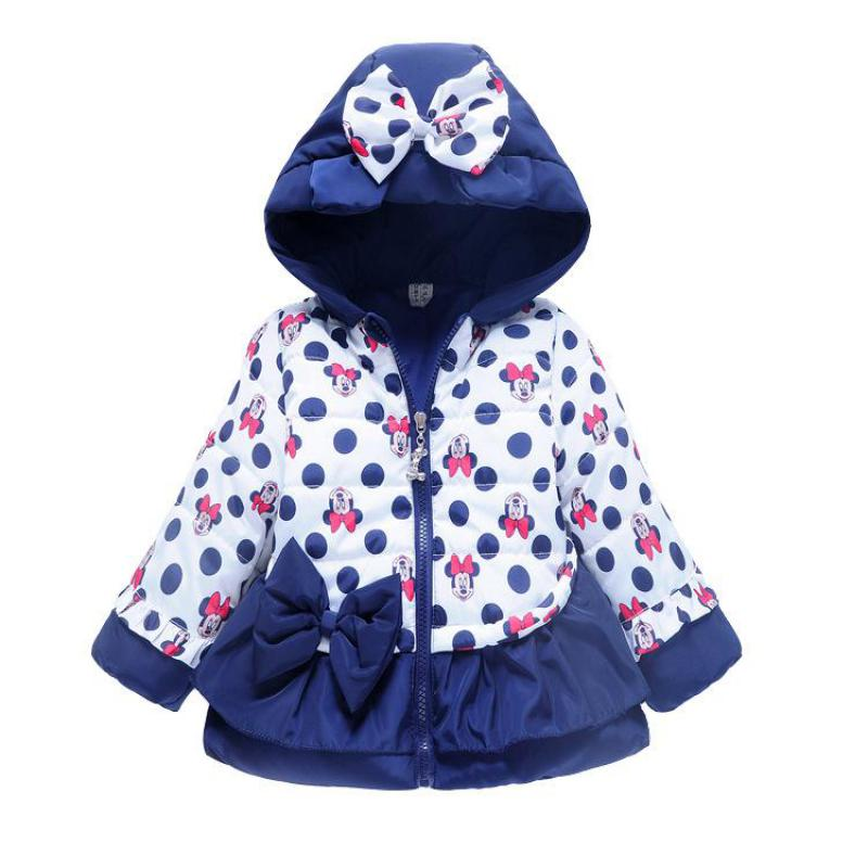 Childrens Winter Coats Baby Girls Cotton-padded Jacket Mickey Bowknot Kids Girl Coat Minnie Print Warm Hooded Outwear JJ0060Одежда и ак�е��уары<br><br><br>Aliexpress