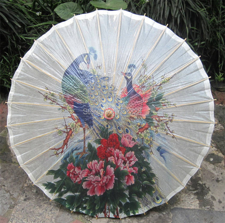 Free shipping chinese handmade peafowl standing in the peony flowers picture 2 oiled paper umbrella waterproof parasol umbrella<br>