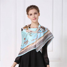 HangZhou Silk Scarf Women 100% Mulberry Silk Winter Wild Scarf New 110cmX110cm Large Printing Square Shawls