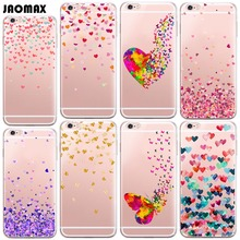 Watercolor Butterfly Pink Love Heart Case For iPhone 6 6S 6 Plus 6s Plus 5 5S SE 7 7 Plus Transparent Soft Silicone Phone Cover