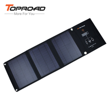 TOPROAD 16w Foldable Solar Panel Cell Bag Portable Power Bank Folding External Battery Charger Dual USB Mobile Phones Chargers(China)