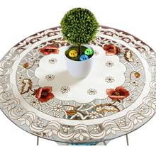 Hollow Embroidery Tablecloth Table Mat Dustproof Round Table Cloth Oilproof Polyester Weeding Banquet Decor Manteles Para Mesa
