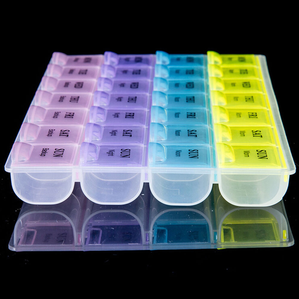 Pill Box Holder4 Row 28 Squares  7 Days Tablet  Medicine Storage Organizer Container Case Quality