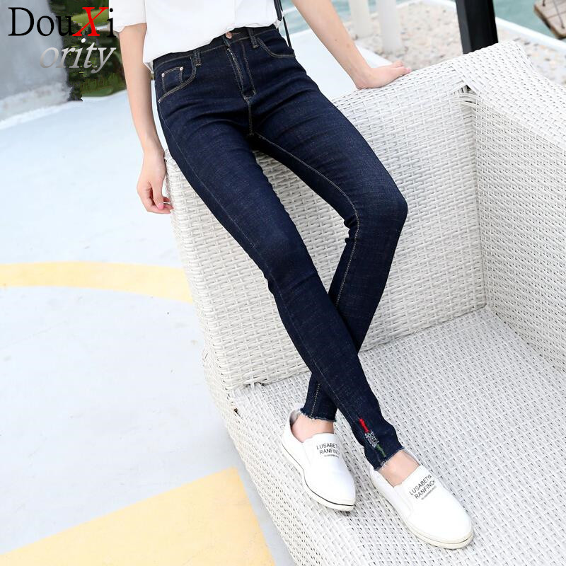 women jeans  Mid waist jeans trousers embroidered female trousers cultivate Blue jeans women pencil pantsОдежда и ак�е��уары<br><br><br>Aliexpress