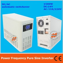 Power frequency 1500W pure sine wave solar inverter with charger DC24V to AC110V220V LCD AC by Pass AVR