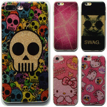 Fashion Bling Glitter Case For iphone 6 Case For iphone 6S 7 7 PLus Back Cover Cute Hello kitty Skull Shining Powder Phone Cases(China)