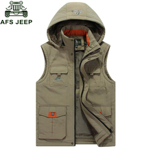 2017 Autumn Winter New Mens Warm Vest Casual Hooded Collar Vest Men Multi-pockets Waistcoat Fleece Mens Warm Sleeveless Jacket(China)