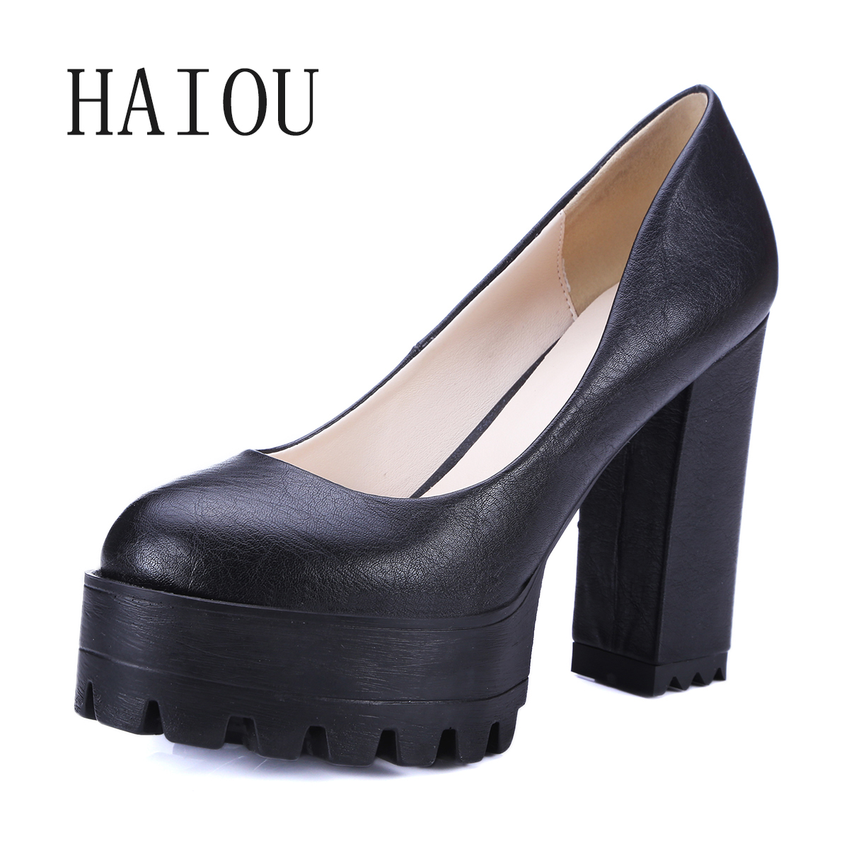 New Casual High-heeled Shoes Sexy Ruslana Thick Heels Platform Pumps Women Pump Thick Heel Platform Shoes Black White Shoes Size<br>