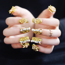 2017 New Golden Wedding Fake Nails Long 20Pcs Square Luxurious Rhinestones Pearls Decor Nail Tips for Bride with Glue Sticker(China)