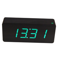 New Modern Wooden Black LED Digital Alarm Clock Green LED Wood Framework Desktop Clock Electronic table clocks(China)