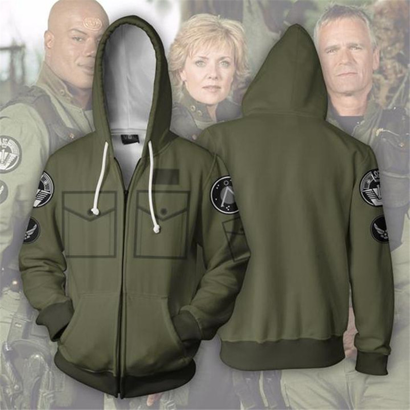 Stargate 3D Printed Cosplay Costume Hoodies Zipper  Hooded Thin Jacket Autumn Men Boys Fashion Hoodies