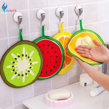 2Pcs Round Hand Towel Fruit Pattern Circle Towel Quick Dry Microfibre Washing Dish Towel Hanging Type Kitchen Cleaning Cloth Rag