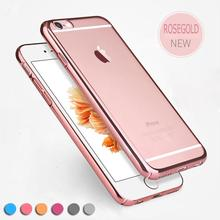 for iPhone 6 Case Ultra Slim Luxury Electroplating Soft Silicone Clear TPU Case Transparent Back Cheap Cover for iPhone 6S Plus