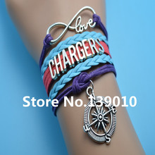 Infinity Love Chargers Compass AFC Team Bracelets Blue Red Purple Leather Rope Customize NCAA Sports Wristband Men Brand Bangles