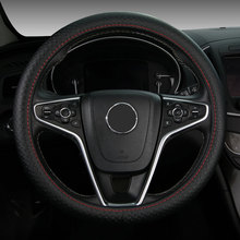 38CM Genuine Leather Car Steering Wheel Cover Cowhide Anti-slip for volkswagen vw bora golf 3 4 5 6 7 gti golf r mk golf7 tiguan(China)
