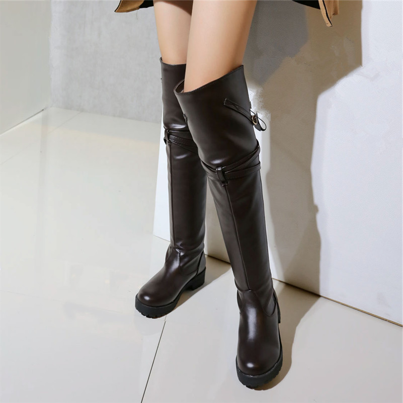 Plus size 34-43 women boots high quality Russia knee warm thick fur snow boots patent leather winter shoes Over-the-Knee boots<br><br>Aliexpress