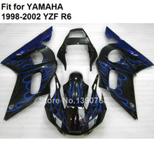 Bodywork kit for Yamaha fairings YZF R6 98 99 00 01 02 blue flames black fairing set R6 1998 1999 2000 2001 2002 FB-82