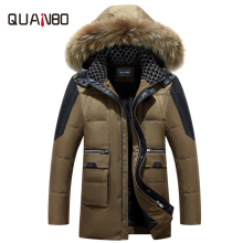 2017 Thick Warm Winter Men's Down Jacket High Quality Luxury Raccoon Fur Collar Hooded Parka hombre Men Business Casual Coat