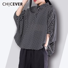 Buy CHICEVER 2018 Fashion Women's Shirt Top Lapel Batwing Sleeve Polka Dot Feminine Blouse Loose Big Size Casual Clothes New for $25.42 in AliExpress store