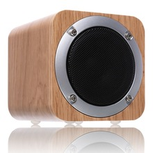 Promotion wooden speaker altavoz bluetooth wood square portable radio FM SD Built-in Mic caixa de som for phone PC Fashion(China)