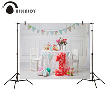 Allenjoy photography backdrop 1st birthday room baby celebrate dessert table flags background photocall portrait shooting(China)