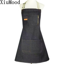 XiuMood Black Denim Apron Home Kitchen Chef Cooking BBQ Adult Aprons For Woman Men's Adjustable Neck Workwear With Zipper Pocket