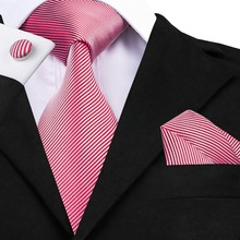SN-1083 Tie Hanky Cufflinks Sets Red & White Stripes Men's 100% Jacquard Woven Silk Neckties for men Formal Wedding Party Groom(China)