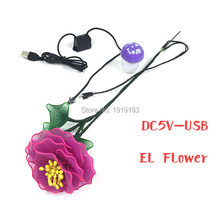 New Arrival Led Strip Neon Purple Peony Asian Style EL Wire Cold Light Happy Smiling Flower for Home Gathering Party Supplies(China)