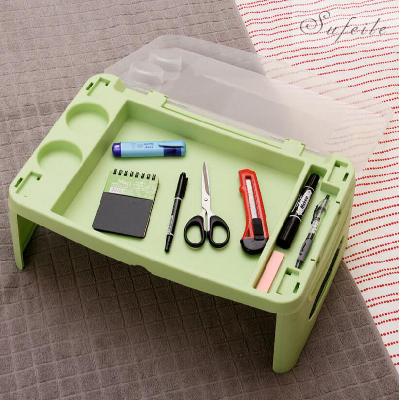 SUFEILE Computer table laptop Table Storage Plastic Folding Tables with A Small Notebook Car Learning Lazy 17SAND15<br>
