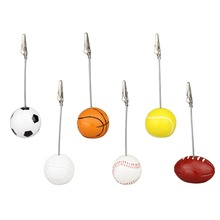 sport game ball stand alligator wire memo photo clip holder,table place card holder,sport event display,wedding party favor(China)