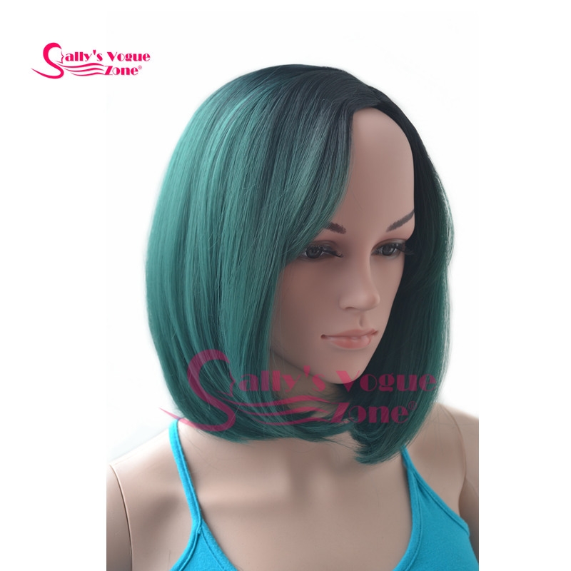 Female Short Kanekalon Synthetic Cosplay Full Wigs Straight Ombre 2 Tone Black+Emeral Green Color Heat-resisting Bob Wig<br><br>Aliexpress