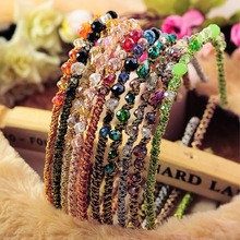 2016 New Girls Colorful Beads Hairbands Korean OL Style Lady Women Hot Sale Cute Hair Holders Accessories Fashion F0234