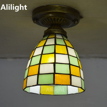 Tiffany Small Ceiling Light Mosaic Stained Glass Flush Mount Lamp Mediterranean Sea Indoor Lighting E27 110-240V Decor Fixtures