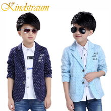 Kindstraum Boys Cotton Blazers Kids Polka Dot European Style Formal Blazer Children Party Wedding Outwear Casual Jackets, MC725