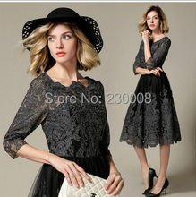 European 2017 new  temperament boutique embroidered openwork lace dress was thin Slim personality collar Three Quarter dresses