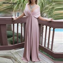 Women Summer Beach Dress elegant multi-way backless pink Evening Gowns Wedding party Long Maxi Dress vestido for Bridesmaids