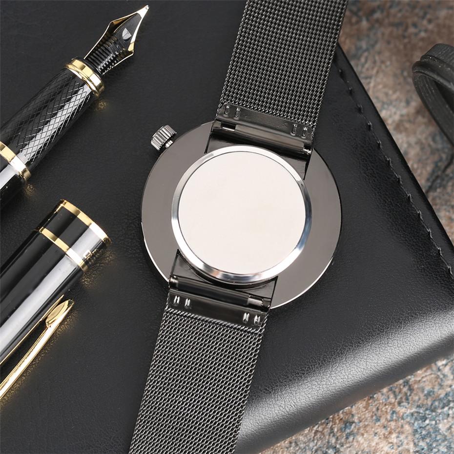 YISUYAแฟชั่นลำลองผู้ชายนาฬิกาอะนาล็อกควอตซ์ฉลามสีดำสแตนเลสตาข่ายวงสร้างสรรค์นาฬิกาข้อมือท... 8