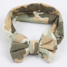 Print Camouflage Cotton Turban Headband For Infant Baby Children Knotted Bow Stretch Hair Band Head Wrap(China)